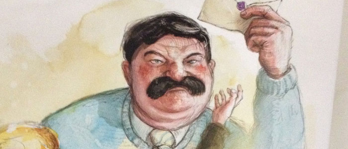 Fanart strýce Vernona z ilustrace z knihy Kámen Mudrců. Je vidět jen jeho hlava a ramena, má černé vlasy a knír, v obličeji je zarudlý a mračí se. V pravé zdvižené ruce drží Harryho dopis do Bradavic.
