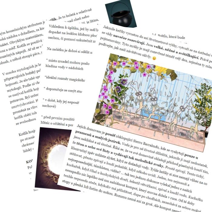 Na obrázku jsou naaranžované na sebe tři listy s textem. Mezi texty jsou obrázky. Na zadním listu v pravém rohu je vidět malý černý kotlík na tmavomodrém pozadí. Na prvním listu je vidět prostředí skleníku a pět podivných potvůrek v něm.