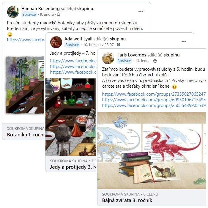 Obrázek obsahuje tři facebookové příspěvky, které jsou naaranžované přes sebe. Jde o příspěvky se zadáním úkolů pro jednotlivé předměty (botanika v pozadí, na ní jedy a protijedy a přes vše bájná zvířata. V každém příspěvku je text a obrázek (na první listě je anatomie draka).