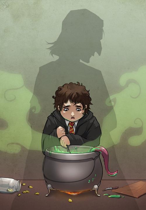 Fanart, na němž Neville, celý upocený, zoufale míchá lektvar (z něhož čouhá růžové chapadlo). Z kotlíku se vypařuje zelený dým. V pozadí je vidět silueta profesora Snapea.