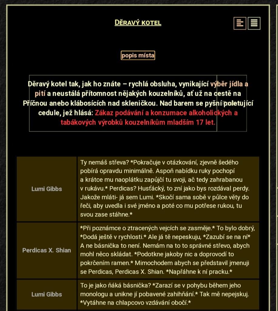 Print screen z webové stránky HOCZ. Na černé pozadí je béžovým písmem popis lokality Děravý kotel.