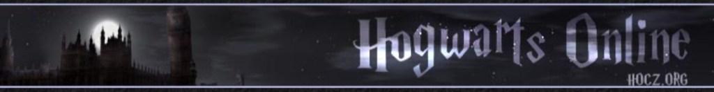 Na tmavém dlouhém obrázku je vlevo stín Bradavic a na jeho pozadí bílý měsíc. Vpravo je nápis Hogwarts Online.