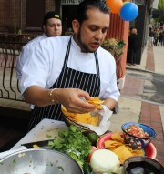 Juan Carlos restaurant owner Ron Garza does a fresh salsa demonstration during the Pottstown outdoor farmers market opening day which also celebrated Cinco De Mayo.