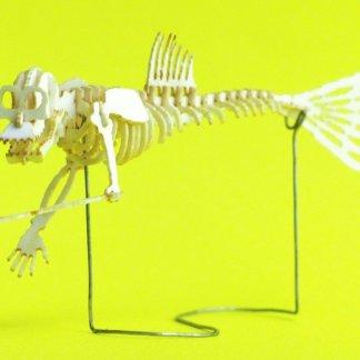 Assembled Fiji Mermaid miniature skeleton model by Tinysaur.us