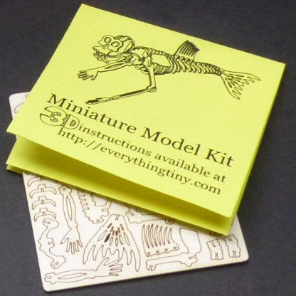 Fiji Mermaid miniature skeleton model with laser cut bones and instructions by Tinysaur.us