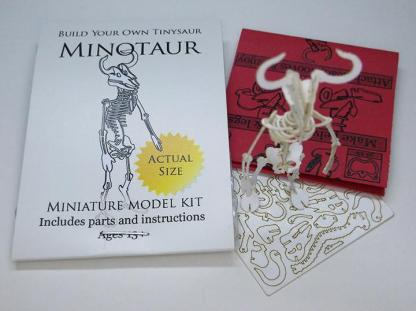 Minotaur miniature skeleton model with laser-cut bones and instructions by Tinysaur.us