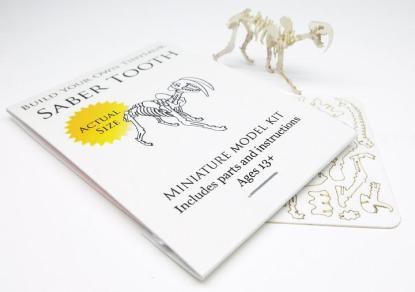 Saber Tooth miniature skeleton model with laser-cut bones and instructions by Tinysaur.us