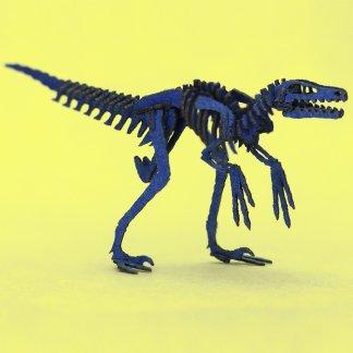 Blue Velociraptor miniature skeleton model
