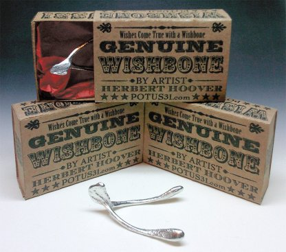 Life-sized Wishbone cast in pewter and polished to a matte luster in a retro gift box by POTUS31.com