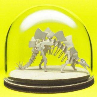 Stegosaurus miniature skeleton model in hand-blown glass display dome by Tinysaur.us
