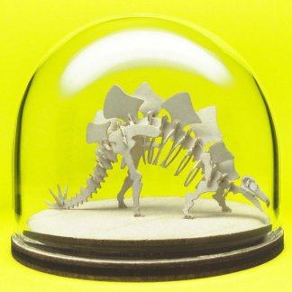 Stegosaurus miniature skeleton model in hand-blown glass display dome by Tinysaur.us