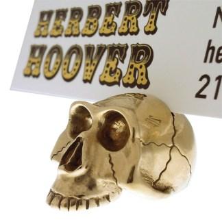 Small Brass Skull Placecard Holder