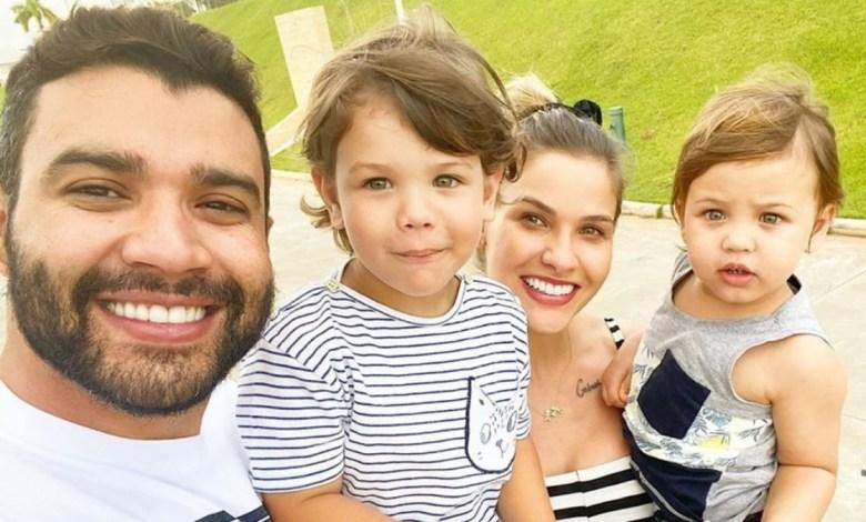 Reprodução: Gusttavo Lima e Andressa Suita com seus dois filhos.