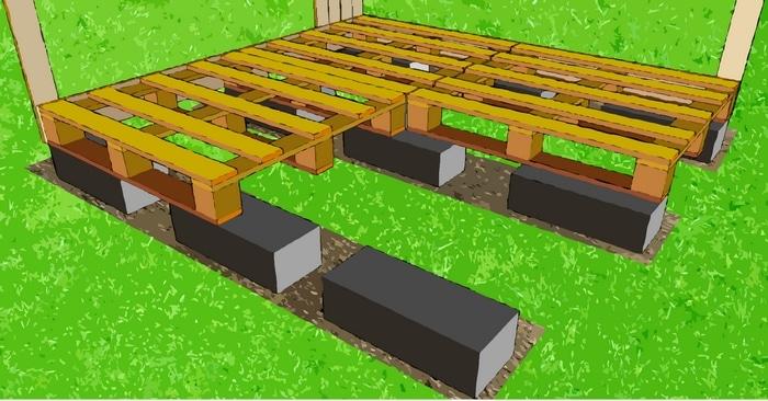 sol du poulailler fait avec des palettes en bois