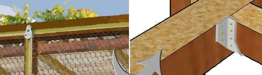 détail du montage des chevrons du pigeonnier