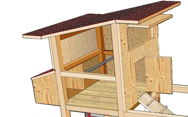 aménagement intérieur du tracteur à poule