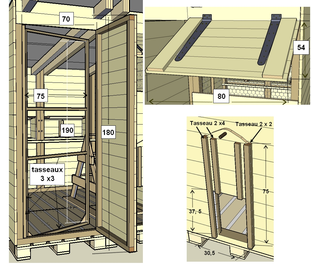 Détail de la porte en bois de palettes du poulailler