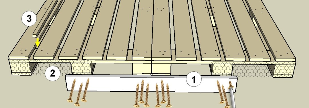 assemblage des palettes de la base du poulailler