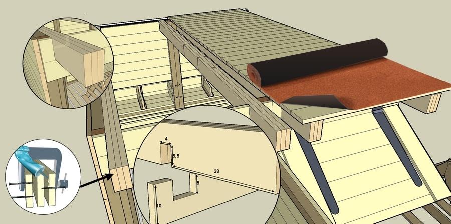montage de la toiture du poulailler en planches de palettes.-2jpg