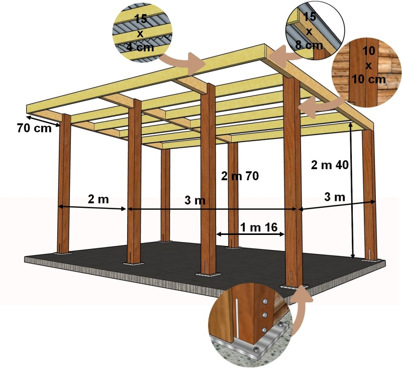 plan de la structure d'un abri pour âne.