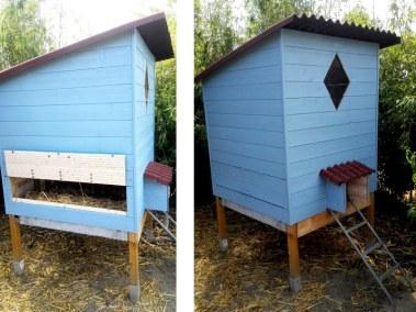 Xavier - poulailler auto construit en forme de cabine de plage