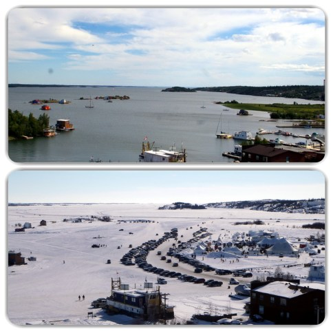 Yellowknife Bay transformation - the top photo was taken in June (2010) showing a normal lakeside scene and the bottom photo in March (2105) with the Long John Jamboree taking place on the ice ! The buildings in the center left of the bay are boat houses which float during the summer and are frozen in during the winter. People who live in them must have an interesting life dealing with the different seasons. Photos taken from Pilots Monument hill.