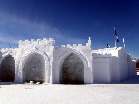 """2015 Long John Jamboree - A corner of the snow castle. Contained in the arches are """"windows"""" made of ice"""