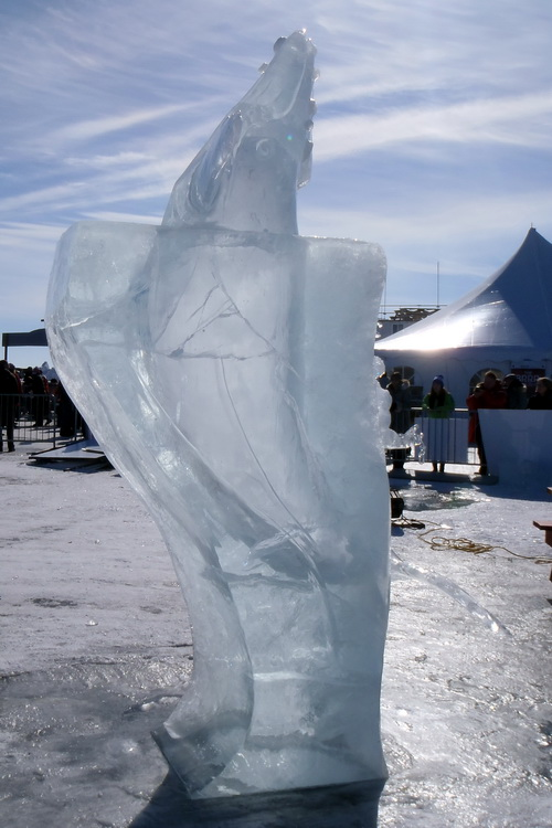 2015 Long John Jamboree - Ice carving of a whale breaching from the sea. Amazing how they got the shape of the whale silhouetted in the ice ! This team was from Yellowknife and didn't win a prize !