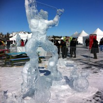 """2015 Long John Jamboree - This sculpture was titled """"The Devil went down to Georgia"""" carved by a team from USA and they won a second place Gold Medal. On the right you can see a drum set and the figure is playing a violin !"""