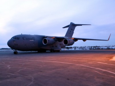 Royal Canadian Airforce C-17 at Yellowknife Airport March 2015
