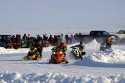 Snowmobile races at the Omingmak Frolics