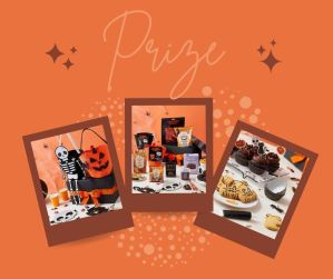 Paper skeleton decoration, black gift box with orange ribbon, pumpkin basket, selection of Halloween sweets, pumpkin cookies, chocolate cupcakes with black cat toppers