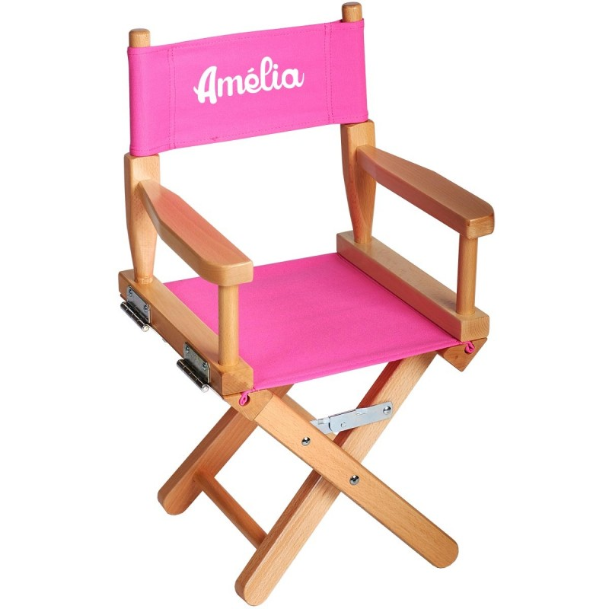 chaise metteur en scene enfant personnalisee naturel rose