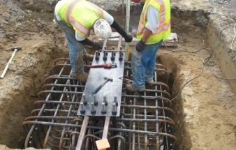 Trenched Footing with Rebar cage and anchor plate setting