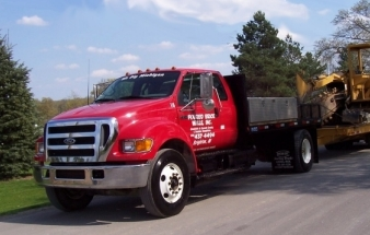 Poured Brick Walls Service Truck with Trencher and Trailer
