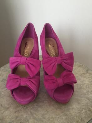 Chaussures à plateforme roses, haut talon, pointure 35