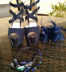 Sandales Bleue pailleté, pointure 35 talon 12 cm