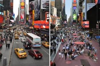 Ces images avant/après de Times Square à New York montrent le succès et l'affluence de lieux qu'on a redonnés aux piétons. Crédit photo : NYC DOT