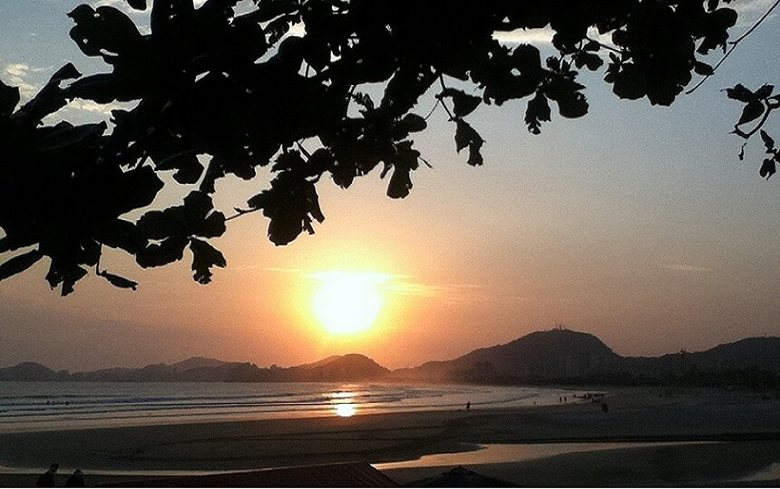 Por do sol Praia da Enseada no Guarujá