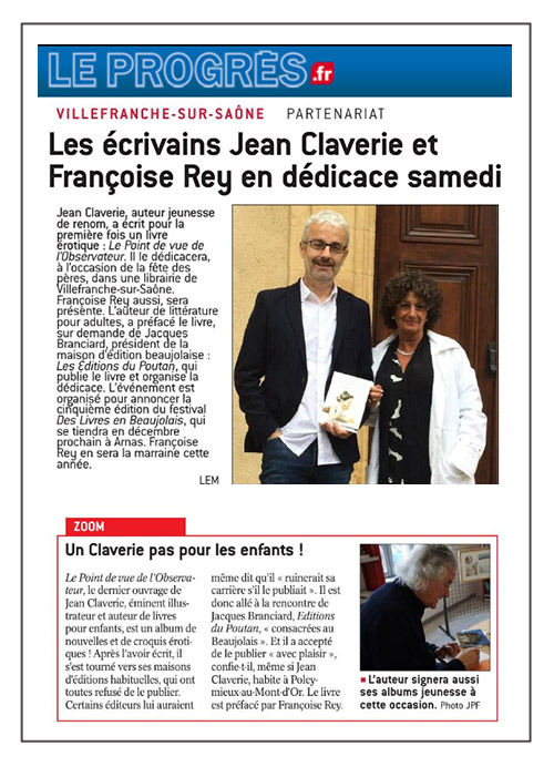 Le Progrès 15/06/18 – Jean Claverie et Françoise Rey en dédicace!