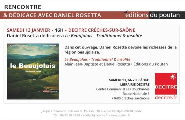 Lettre du Poutan - Daniel Rosetta dédicacera Le Beaujolais traditionnel et insolite