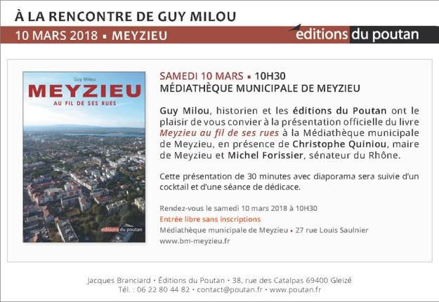Le 10 mars, Guy Milou présente Meyzieu au fil de ses rues!