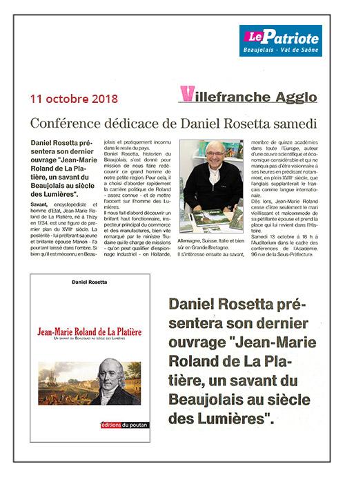 Conférence de Daniel Rosetta - Le Patriote 11/10/18