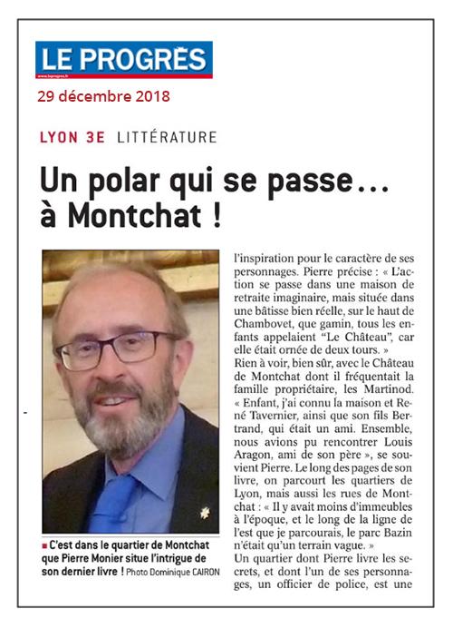 Un polar de Pierre Monier qui se passe à Montchat - Le Progrès 29/12/18