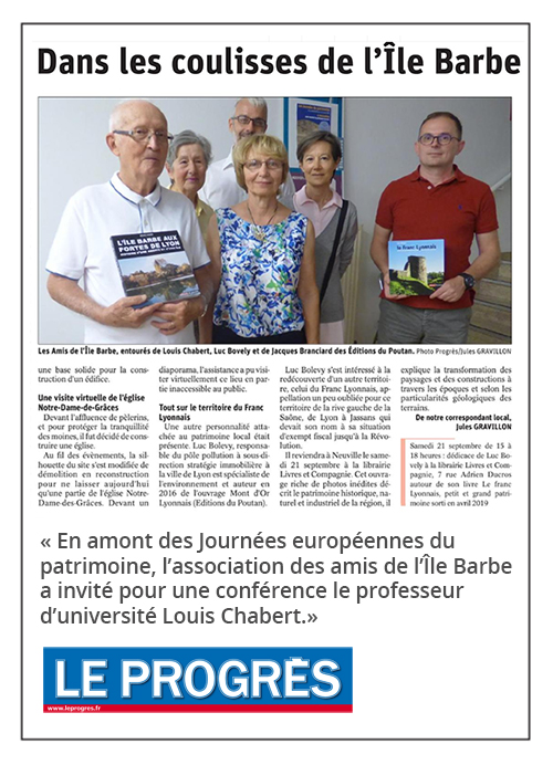 Dans les coulisses de l'Île Barbe - Le Progrès 19/09/2019