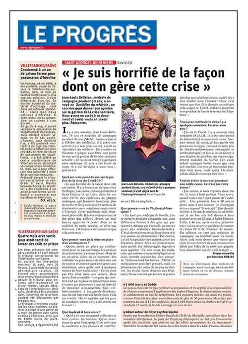 """Jean-Louis Bellaton """"Je suis horrifié de la façon dont on gère cette crise"""" - Le Progrès 21/04/2020"""