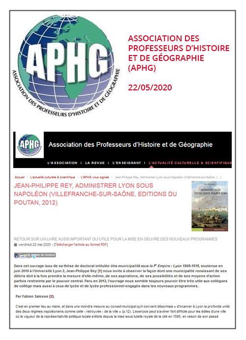 Administrer Lyon sous Napoléon de Jean-Philippe Rey - APHG 22/05/2020