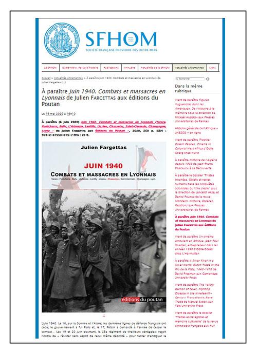 À paraître: Juin 1940. Combats et massacres en Lyonnais de Julien Fargettas - SFHOM 19/05/2020