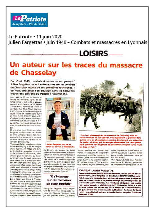 Un auteur sur les traces du massacre de Chasselay - Le Patriote 11/06/20