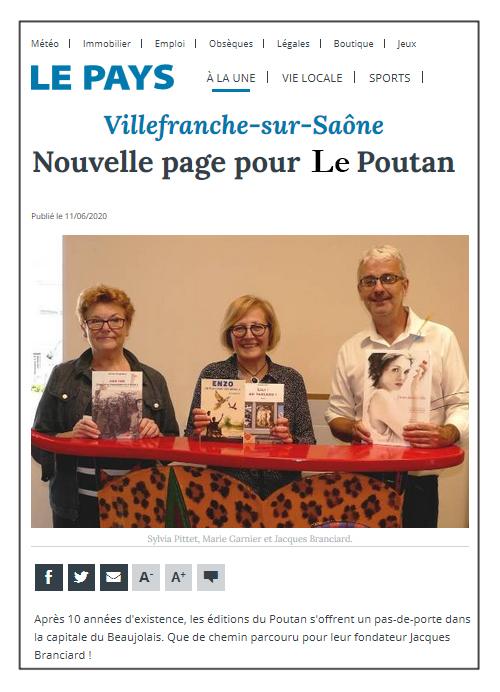 Une nouvelle page pour les éditions du Poutan - Le Pays 11/06/20